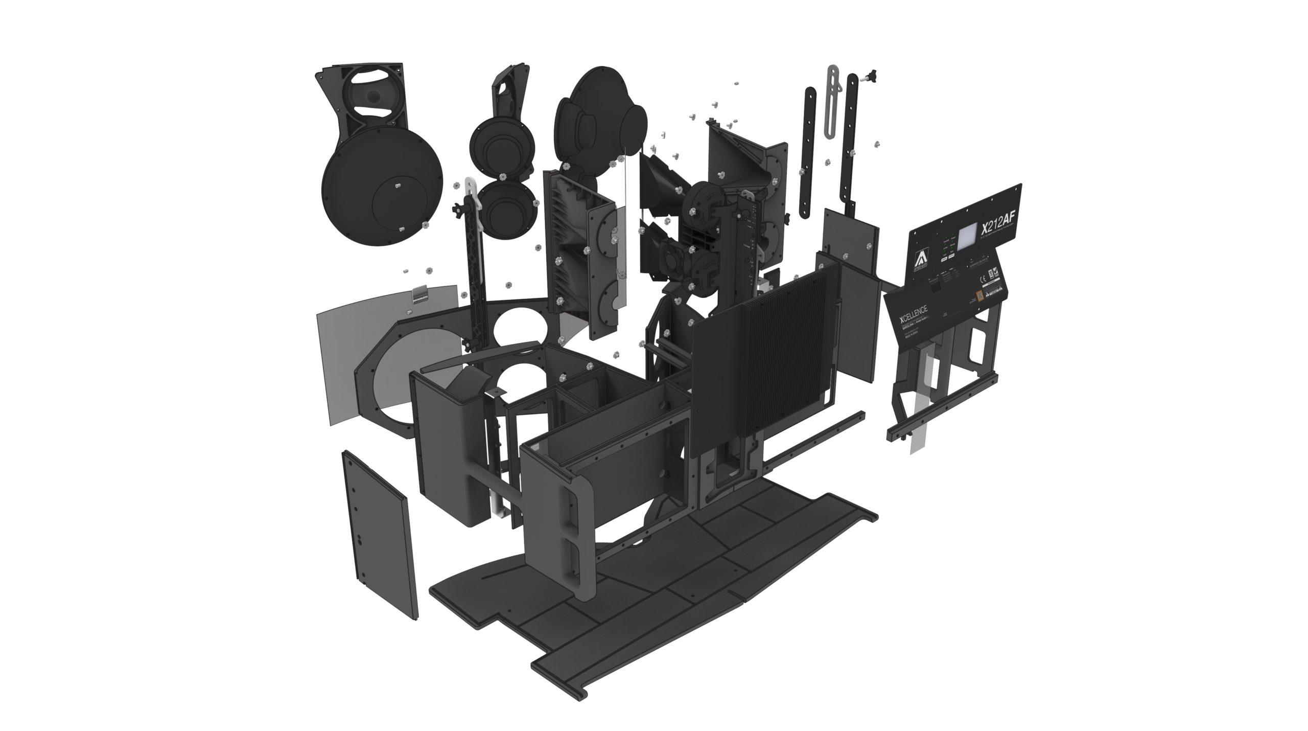 explosionado diseño industrial altavoz