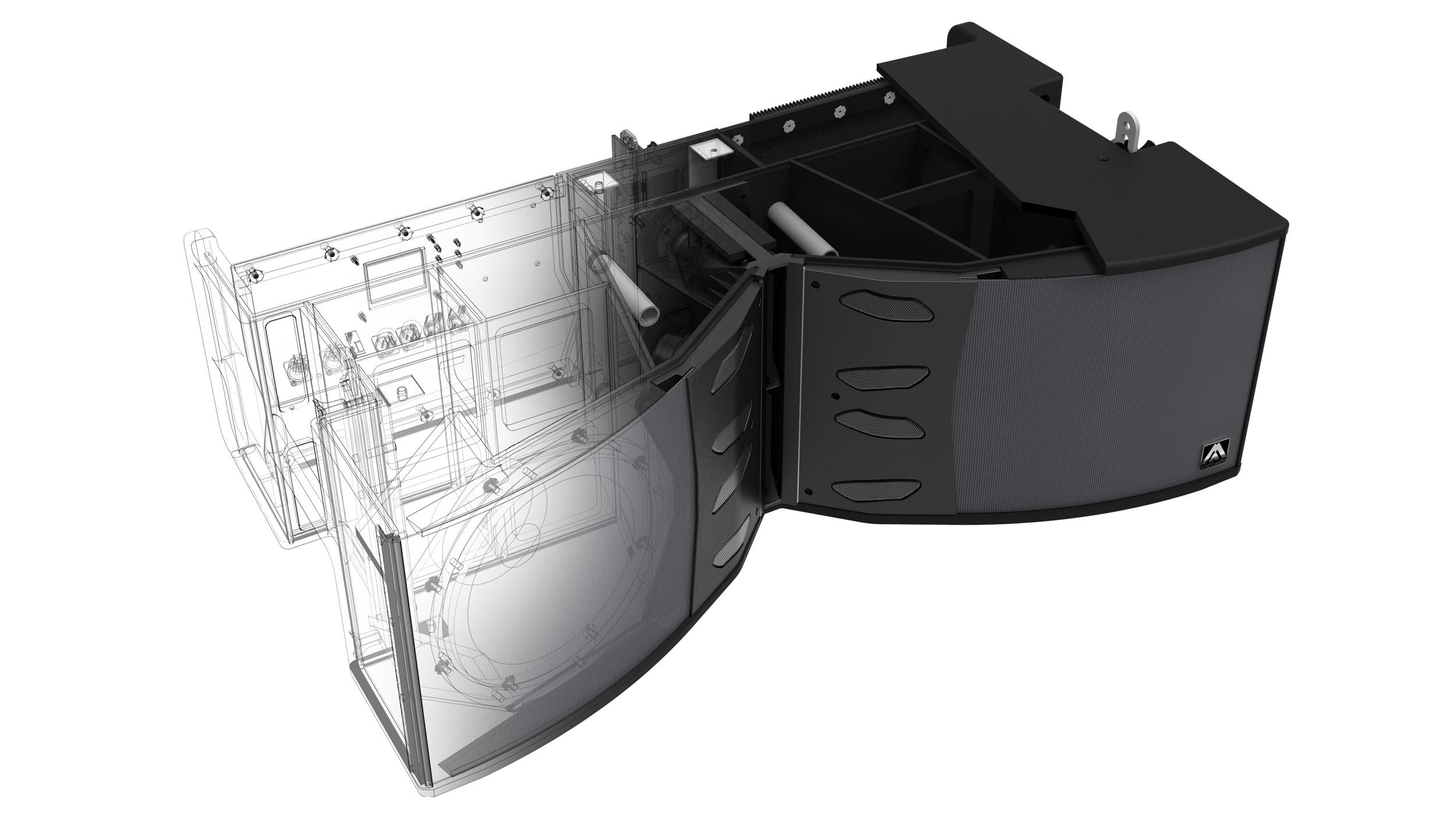 Sección 3D diseño altavoz X212AF
